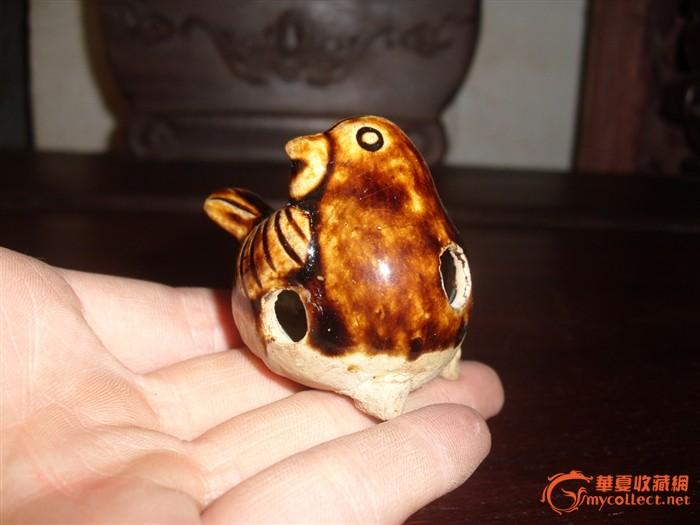 唐代长沙窑青釉酱彩小鸟哨子动物玩具