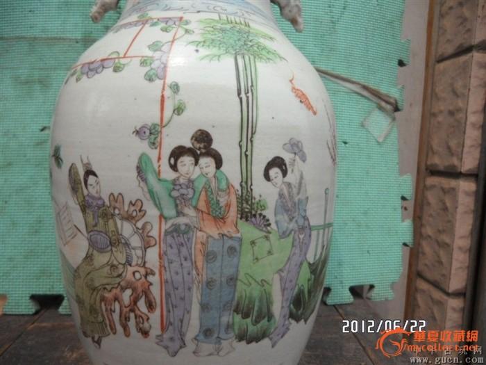 民国竹子美人大花瓶