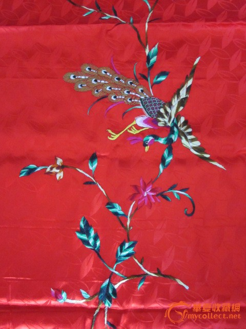 民国刺绣凤穿牡丹打条屏图片