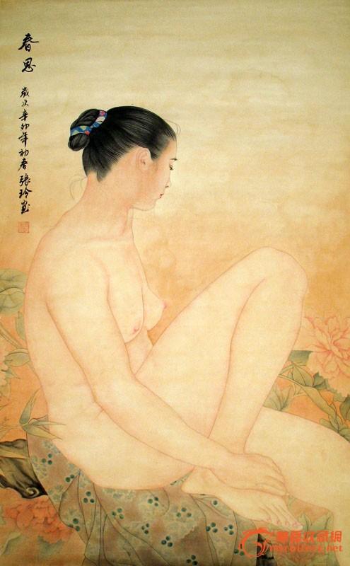 张玲/人物画/三尺/精品美女图/家居装饰/思春/22252