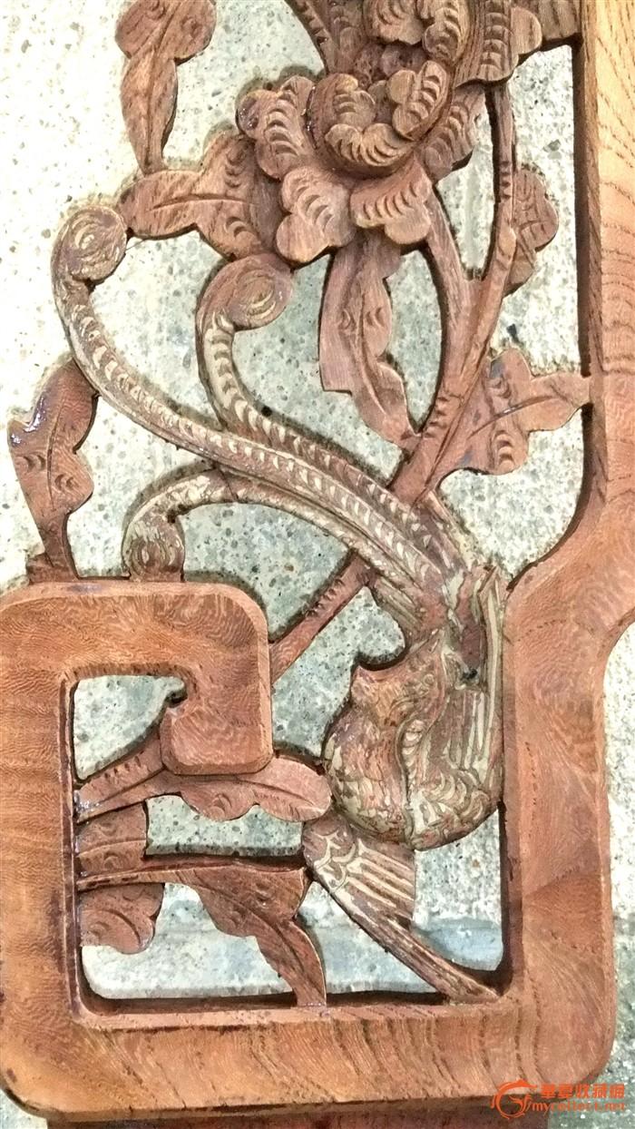 血榉木 凤穿牡丹 花板一对图片