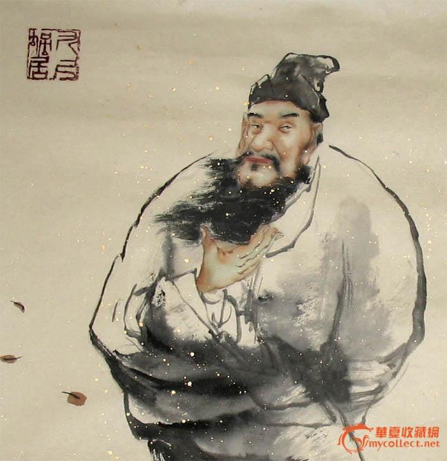 卢东林简洁素雅人物画/大风歌/小斗方/13909