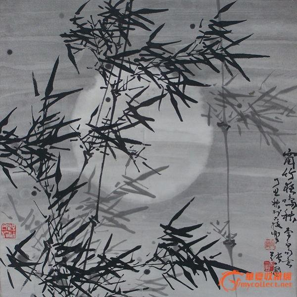 张一蒲国画月竹图4尺斗方精裱立轴