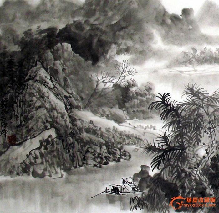 罗雨山水画/水墨三峡风光/四尺/清新素雅/17908