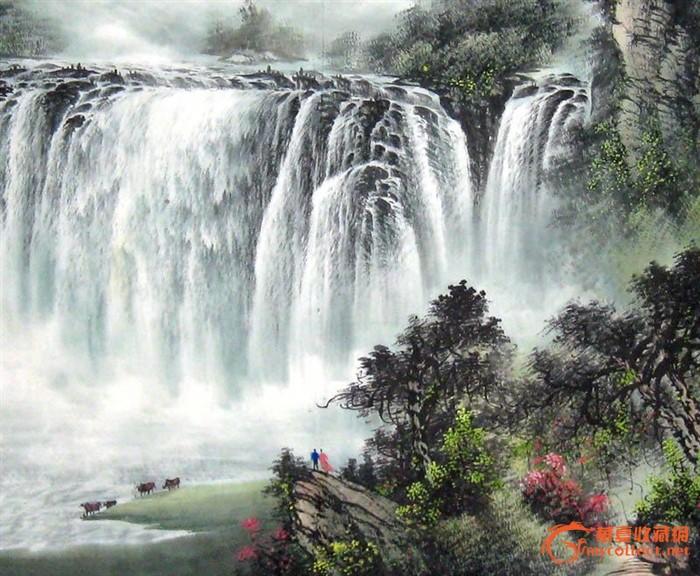 壁纸 风景 国画 旅游 瀑布 山水 桌面 700_576