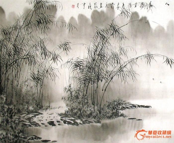 林馨山水画 翠竹林里有人 四尺 清新素雅 推荐 19428