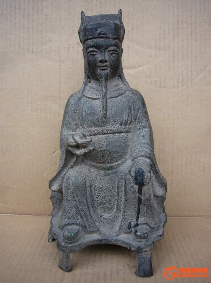 精黄铜财神塑像图片