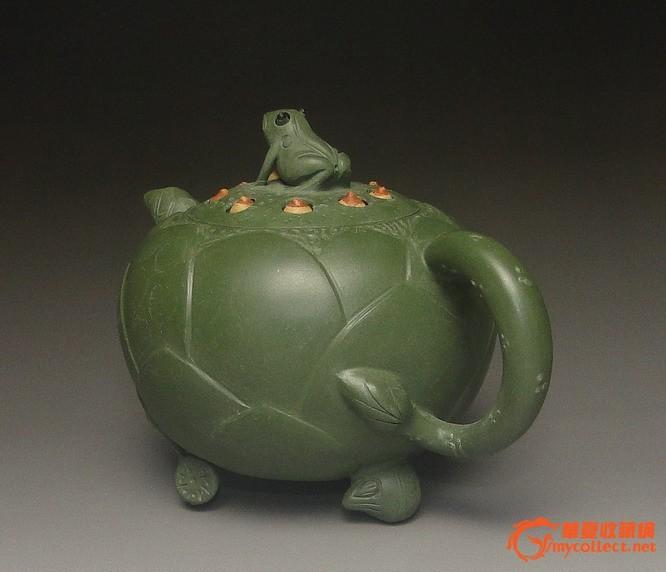 非常漂亮最正民国绿泥蒋蓉款荷叶青蛙壶