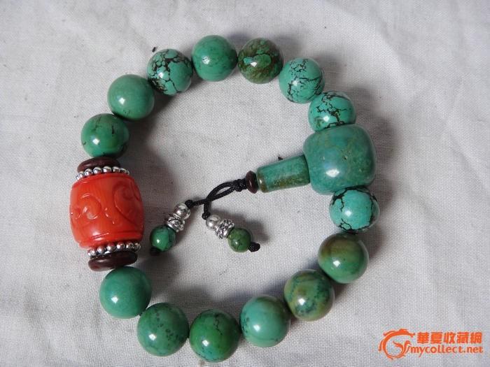 清代绿松石圆珠,珊瑚手链,念珠