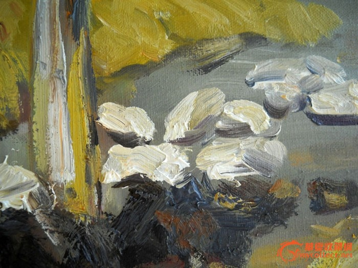 新写生作品/原创纯手绘油画写生作品《北滩村晒谷场》