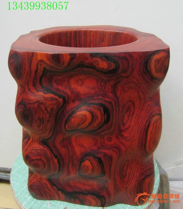 红酸枝木原木随形笔筒花纹超漂亮