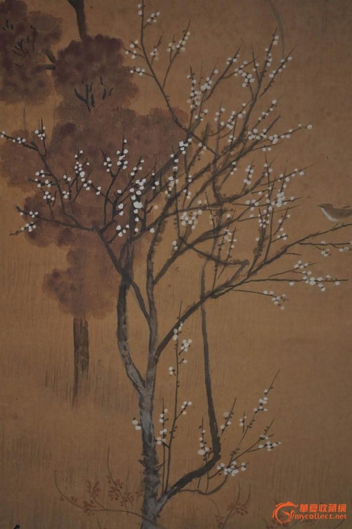 清代日本画家秀邦手绘水墨淡彩山水画《桃林春景》原作立轴