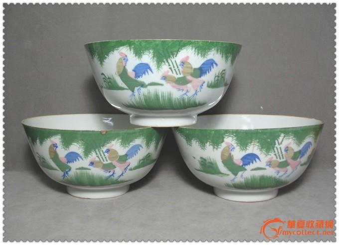 三只民國釉下彩公雞紋大瓷碗