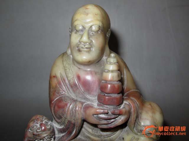 老寿山石精雕宝塔罗汉雕像