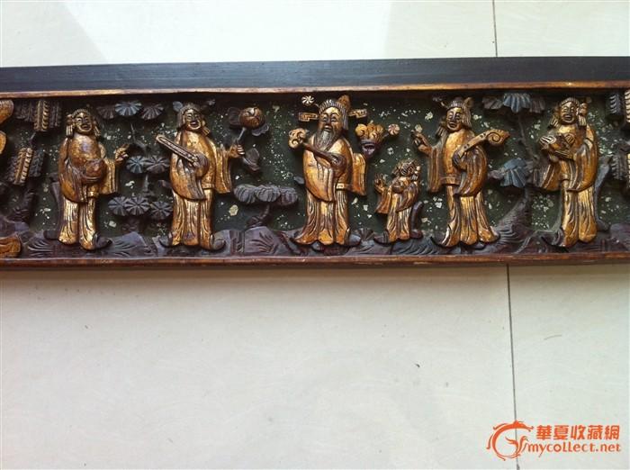 一套柏树---鎏金矿彩嵌螺细深雕立体人物花板