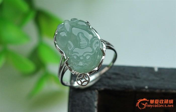 天然翡翠a货银镶嵌玉石翡翠貔貅戒指