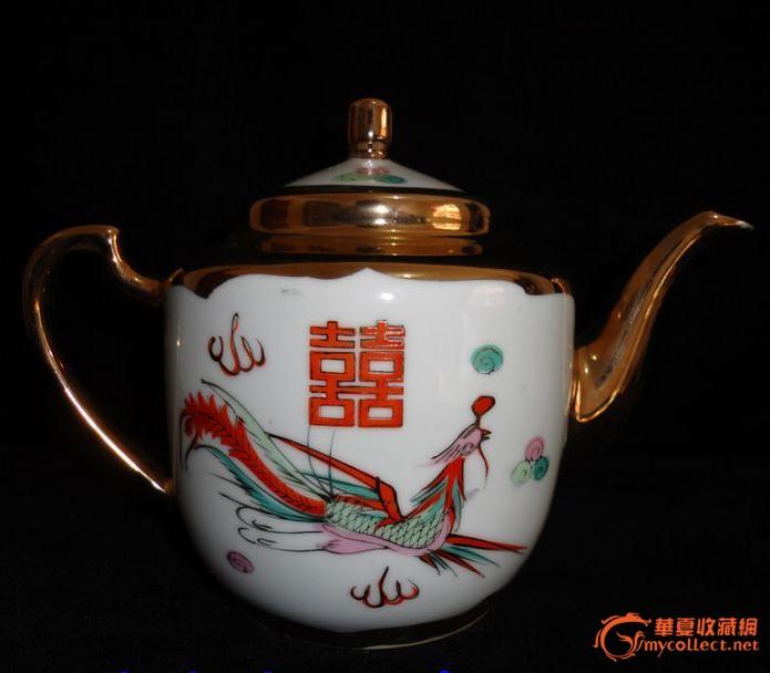 粉彩手绘描金/龙凤双喜执耳壶/茶壶