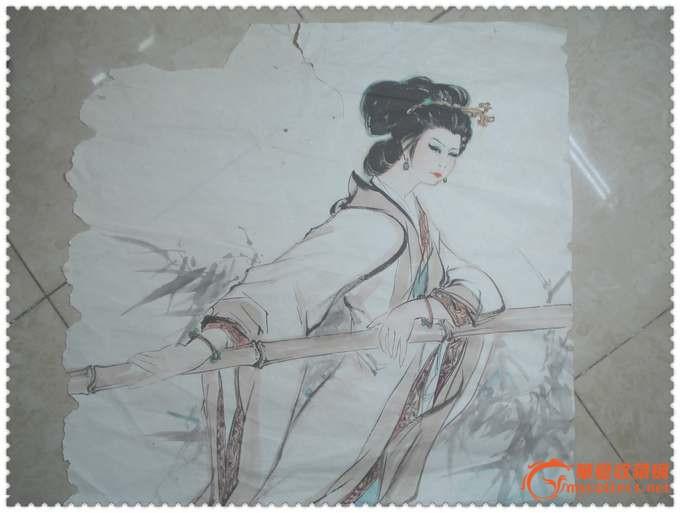 精美的大幅手绘美女赏荷水彩画