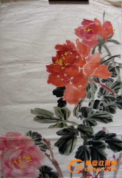 著名中国画大师黄达聪 牡丹显富贵 一幅,精品保真