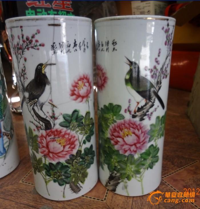 特价民国名家彩色手绘花鸟图帽筒一对包老稀少瓷器标本喜鹊登梅