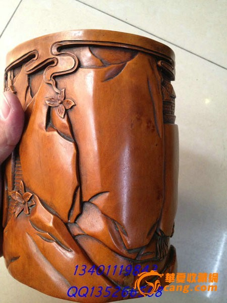 黄杨木精雕八仙过海 浮雕圆笔筒 高18CM