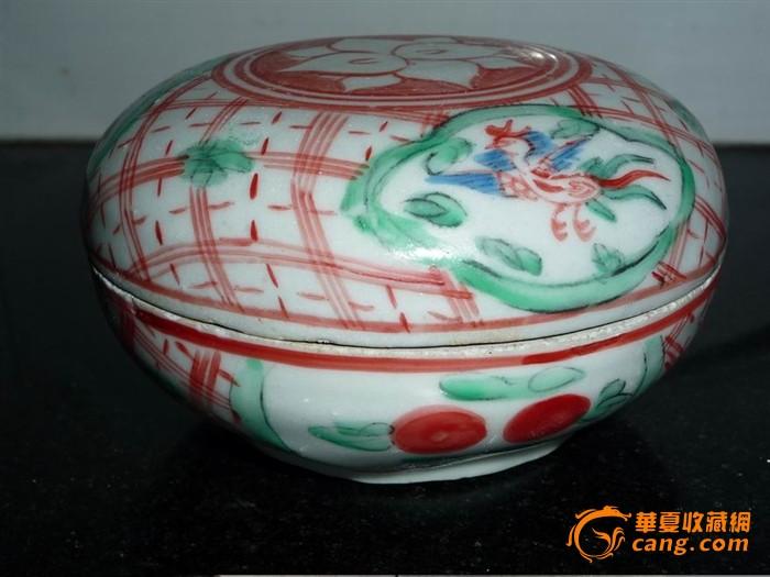 明代万历红绿彩凤凰花纹粉盒;公开拍卖7天