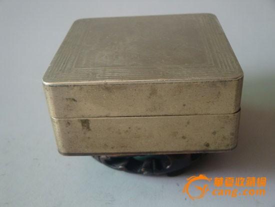 清代刻字正方型白铜墨盒