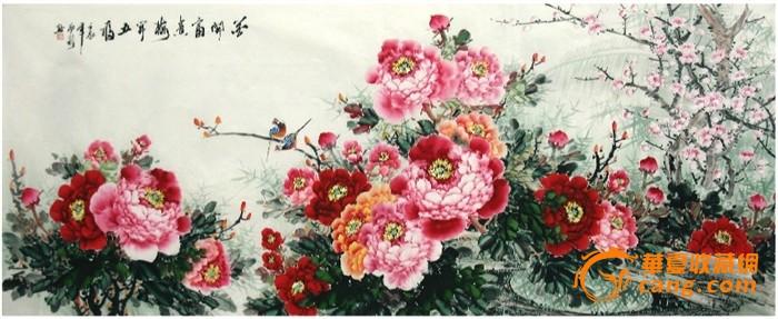 小八尺国画花鸟牡丹·花开富贵