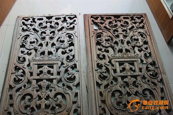 清,草龙 五福临门 整版雕刻木雕窗一对价12500