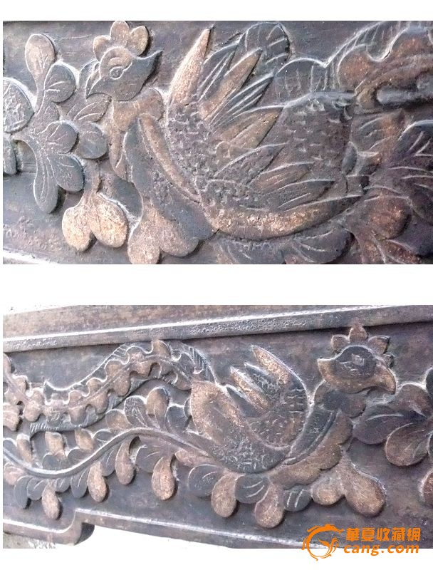 明式 浅浮雕 凤穿牡丹 花板,图片