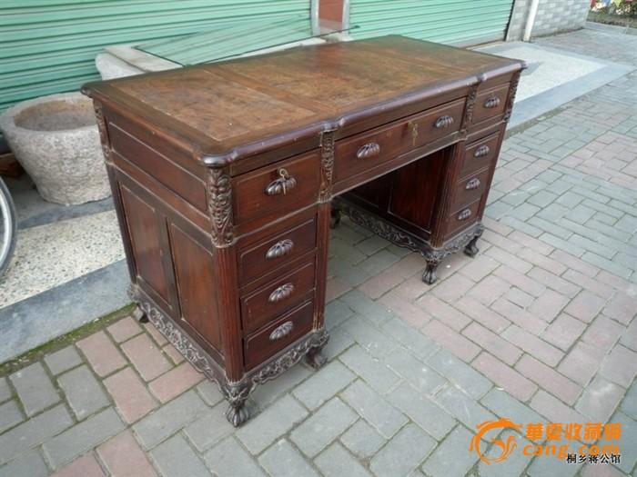 好品相老红木家具樱木面写字桌书桌满身雕工老虎脚古董木艺