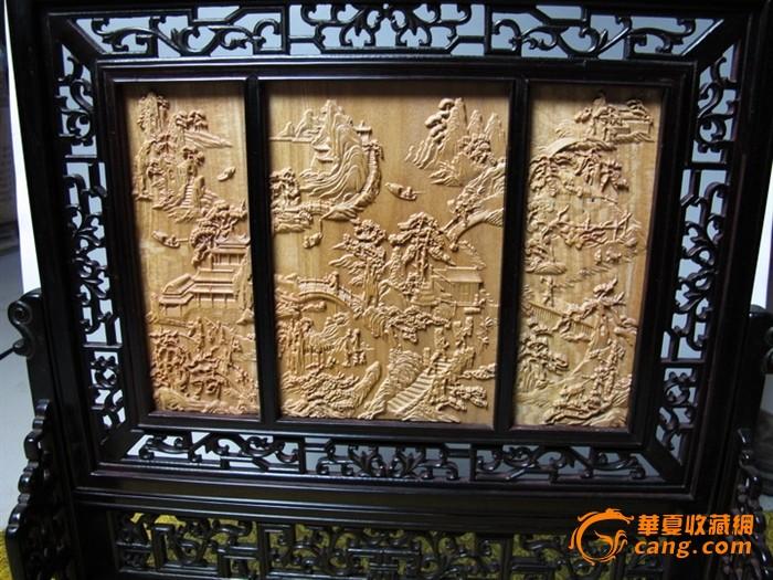 越南佬山檀香木精雕 黑檀木镶嵌!