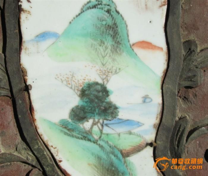 木雕镶嵌瓷板山水画(便宜