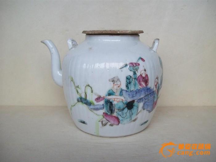 清粉彩人物瓜棱提梁壶 茶壶