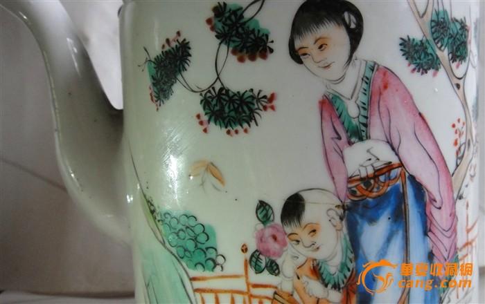 民国粉彩人物提梁大茶壶
