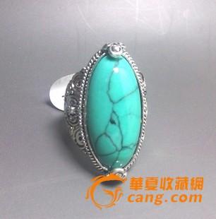 西藏饰品 民族手工艺品开光藏银绿松石戒指环