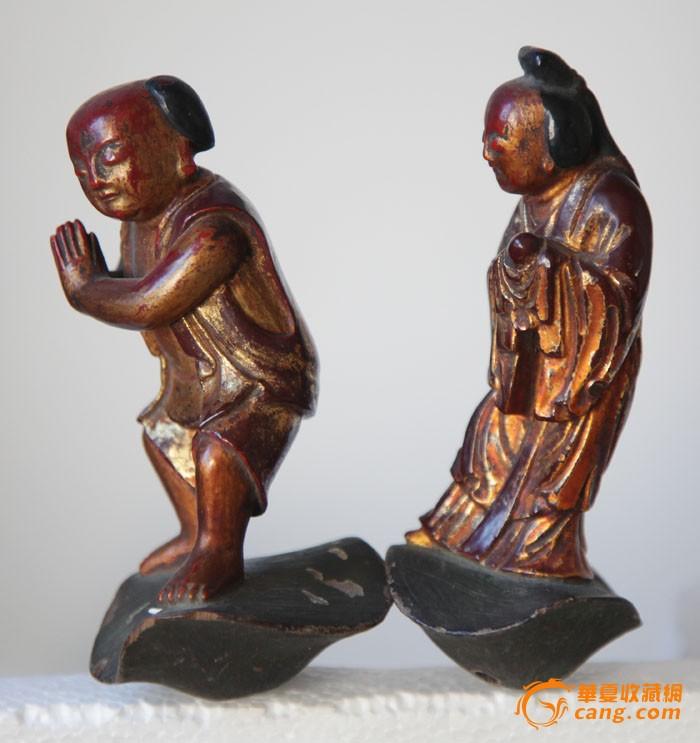 善财与龙女金漆木雕