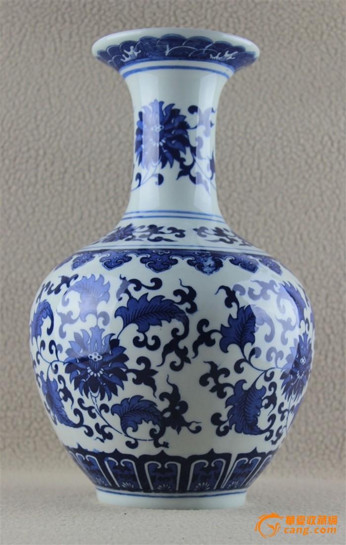 景德镇陶瓷青花瓷花瓶仿古缠枝莲花瓶纯手工爽瓶