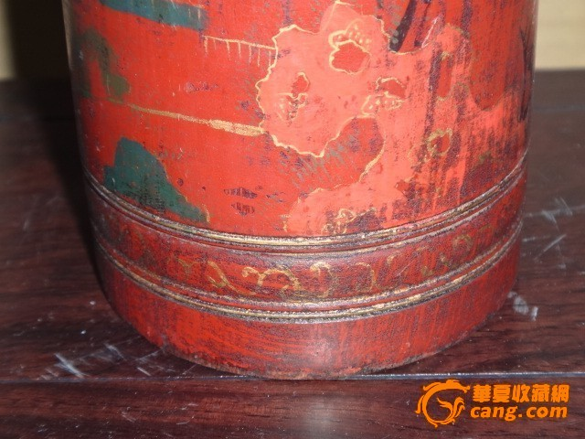 漆器描金人物茶叶罐图片
