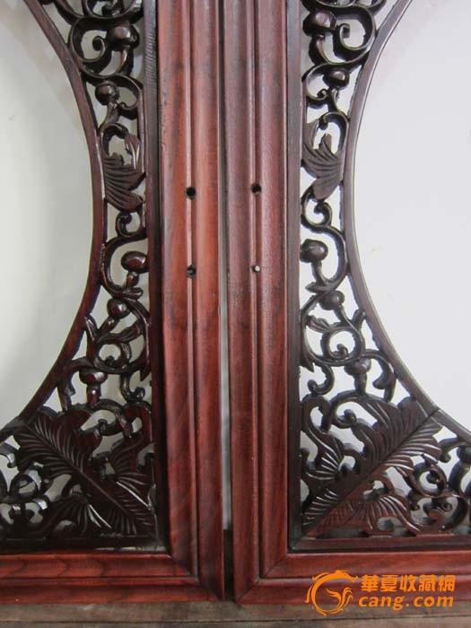 民国榉木方杆起线木框,红木雕花葫芦蝙蝠纹挂屏一对