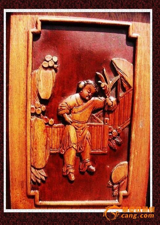 。。经典东阳工。留黄技艺。清雕人物椅子一对。-图3