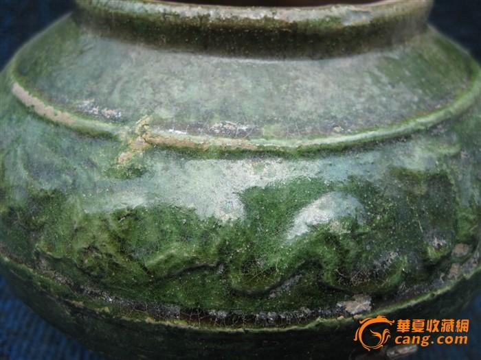 古玩古董瓷器 汉代绿釉跑兽罐 本店绝不卖假图片