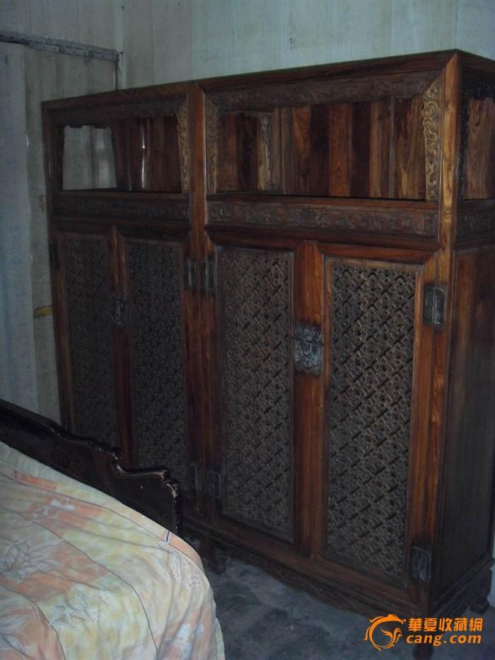 古董家具黄花梨传世家具两体雕花黄花梨柜子一对图片
