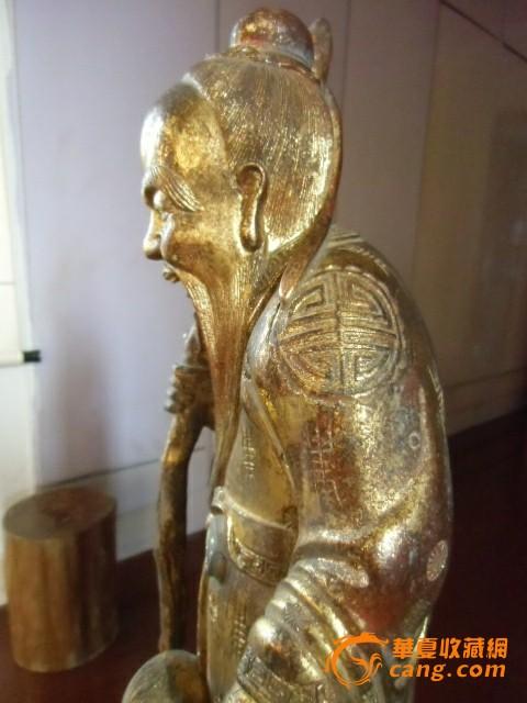 清代楠木漆金寿星童子雕像图片