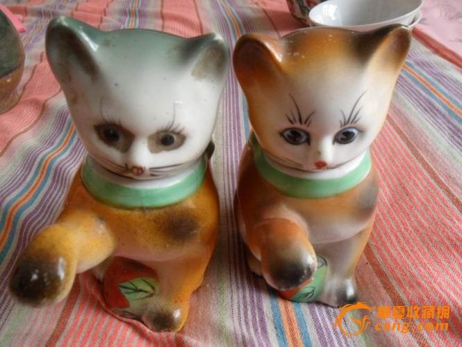 造型可爱的小猫头壶一对