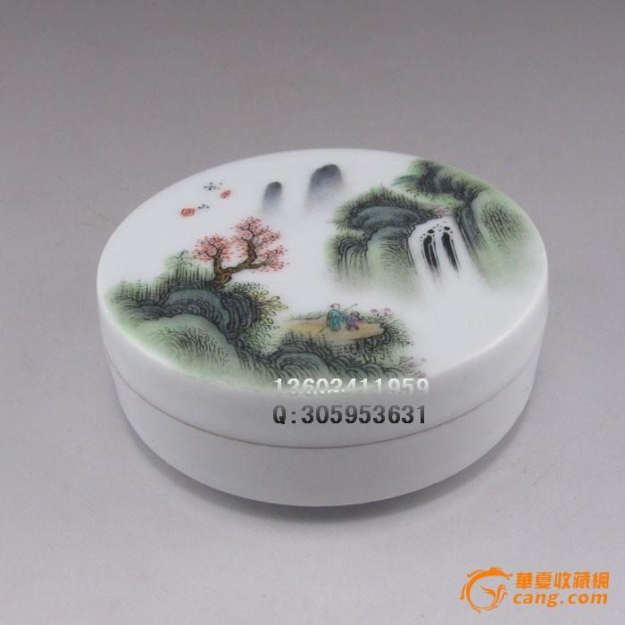 手绘五彩山水人物瓷器胭脂盒