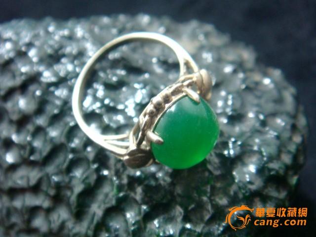 天然缅甸玻璃种深成石戒面925银镶嵌戒指-天然