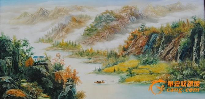 中式山水油画图片