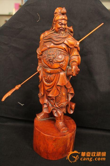 收来的老黄杨木雕关公像