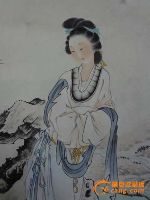 手绘传统人物仕女2 手绘传统人物仕女 工笔人物缝衣侍女 山水人物寒江